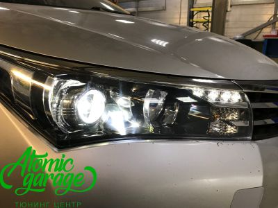 Toyota Corolla E180, установка линз Bi-led Optima Professional и Led ПТФ - фото 18
