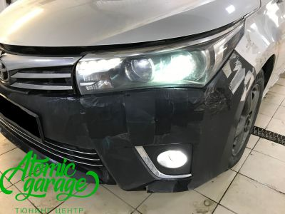 Toyota Corolla E180, установка линз Bi-led Optima Professional и Led ПТФ - фото 2