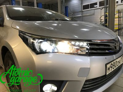 Toyota Corolla E180, установка линз Bi-led Optima Professional и Led ПТФ - фото 19