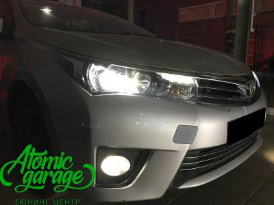 Toyota Corolla E180, установка линз Bi-led Optima Professional и Led ПТФ - фото 24