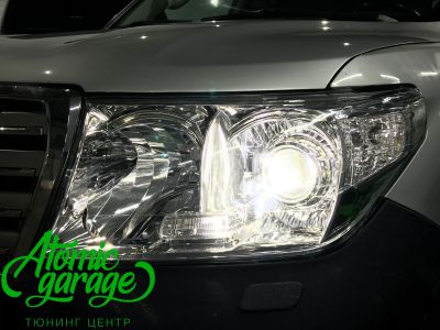 Toyota Land Cruiser 200, установка линз Bi-led Optima Pro + ДХО Vega Standart - фото 9