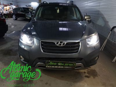 Hyundai Santa Fe CM, замена линз на Bi-led Diliht Triled + DRL Probright Base - фото 1