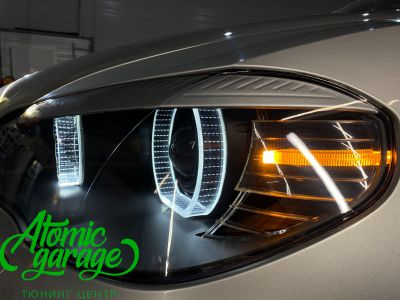 BMW X5 E70, замена линз на Bi-led Diliht Triled + кольца F-style - фото 20