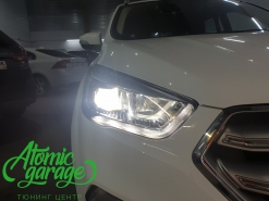 Ford Kuga, замена штатных линз на Bi-led Diliht Tendel