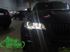 BMW X6 E71, установка 4-х линз Bi-led Optima + кольца F-style