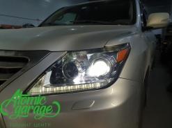 Lexus LX570, замена штатных линз на Bi-led Diliht Triled + ремонт запотевания