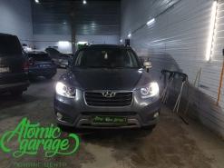 Hyundai Santa Fe CM, замена линз на Bi-led Diliht Triled + DRL Probright Base