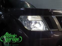 Nissan Pathfinder R51, установка линз Bi-led Diliht Triled + DRL Probright Base