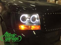 Chevrolet Suburban, установка 4-х линз Bi-led Optima + ходовые огни