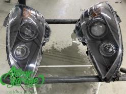 Mercedes w204 дорестайлинг, покраска масок фар + восстановление стекол