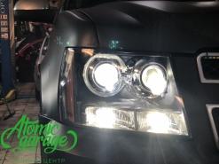 Chevrolet Tahoe GMT900, установка 4-х линз Bi-led Optima + DRL Morimoto