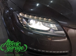 Audi Q7, замена линз на Bi-led Diliht Triled + новое правое стекло