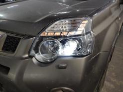 Nissan X-trail T31, замена штатных линз на Optima Adaptive + полировка