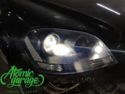 Mercedes ML W164, замена штатных линз на Bi-led Diliht Triled + покраска масок фар