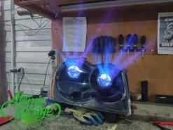 Jeep Grand Cherokee WK, установка 4-х линз Diliht Tendel + RGB подсветка