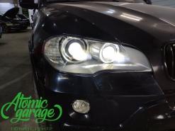 BMW X5 E70, замена линз на Bi-led Diliht + установка вместо фальш Bi-led Diliht Tendel