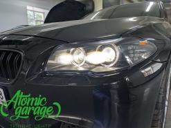 BMW 5 F10, установка 4-х линз Bi-led Diliht + покраска масок фар