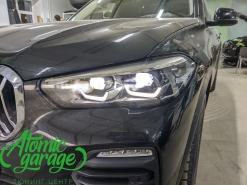 BMW X5 G05, установка вместо фальш линз Bi-Led Diliht Tendel + бронирование стекол