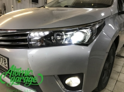 Toyota Corolla E180, установка линз Bi-led Optima Professional и Led ПТФ
