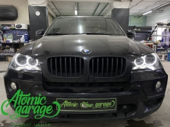 BMW X5 E70, установка 4-х линз Bi-led Diliht + новые кольца + новые стекла