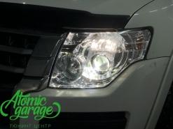 Mitsubishi Pajero 4, замена линз на Bi-led Optima Pro