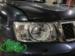 Nissan Patrol y61, установка линз Bi-led Diliht Triled + восстановление стекол