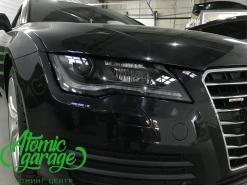 Audi A7, замена штатных линз на Bi-led Optima + покраска