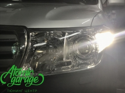 Toyota Land Cruiser 200, установка линз Bi-led Optima Pro + ДХО Vega Standart