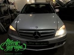 Mercedes w204 дорестайлинг, ремонт запотевания и замена стекол фар