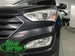 Hyundai Santa Fe DM, замена линз на Bi-Led Optima Pro + перешив руля