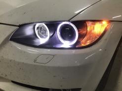 BMW 3 E92, замена ангельских колец + восстановление стекол фар