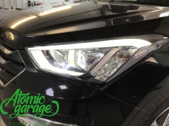 Hyundai Santa Fe DM, замена штатных линз на Optima Pro