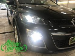 Mazda CX-7, замена штатных линз на Optima Pro + лампы дхо-поворот