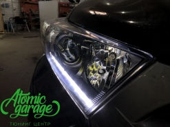 Toyota Highlander (XU40), замена линз на Bi-led Optima + ходовые огни + птф Morimoto