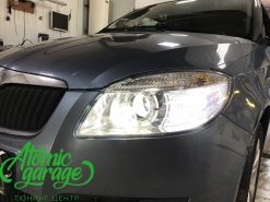 Skoda Fabia Mk2, замена линз на Bi-led Optima Professional