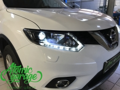 Nissan X-Trail T32, установка линз Bi-Led Optima Adaptive