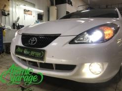 Toyota Solara, замена линз на Bi-led Optima Pro + ПТФ Morimoto
