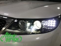 Kia Sorento XM, замена линз на Bi-led Optima Pro + ходовые огни
