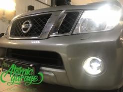 Nissan Pathfinder R51, установка Led ДХО в фары + птф