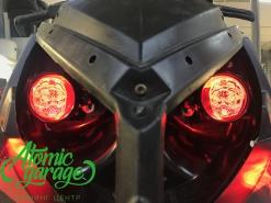Снегоход Polaris 800 PRO-RMK, установка линз Bi-led Optima Pro + Devil Eyes