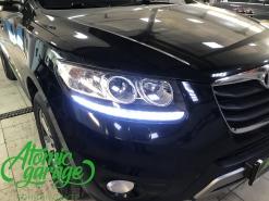 Hyundai Santa Fe CM, замена линз на Bi-led Optima Pro + ходовые огни