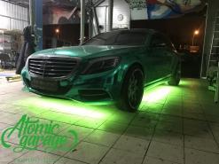 Mercedes W222, многоцветная подсветка днища
