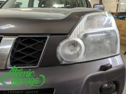 Nissan X-trail T31, замена стекол фар на новые