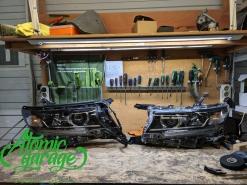 Toyota Land Cruiser Prado 150 2-й рест, замена корпусов фар + восстановление стекол