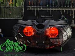 Мотоцикл Suzuki Tl1000r, установка линзы Diliht Tendel + Devil Eyes + гравировка линз