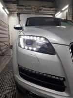 Audi Q7, замена линз на Bi-led Optima Pro + ремонт ходовых огней